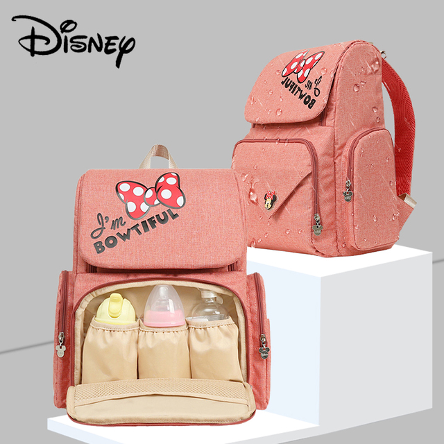 Bolsa de pañales de viaje de Minnie rosa de Disney, Bolsa de maternidad para cochecito, impermeable, USB, para biberón, mochila para mamá