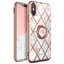 For iphone X Xs Case i Blason Cosmo Snap Slim Marble Cover with Built in 360° Rotatable Ring Holder Kickstand Support Car Mount