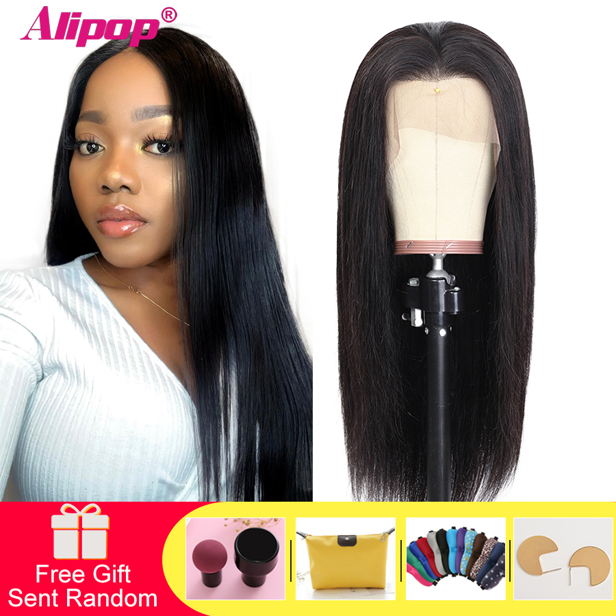 Alipop #4 Light Brown Malaysian Straight Wig 13x4 Lace Front Human Hair Wigs With Baby Hair Lace Front Wig NonRemy
