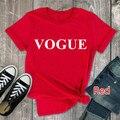 Vogue футболка с печатными буквами Для женщин короткий рукав с круглым вырезом свободная Красная футболка 2020 летние Для женщин футболка топы ...