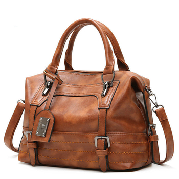 Europe and the United States Boston soft leather bag  new oil wax leather handbags tote bag womens bags handbags