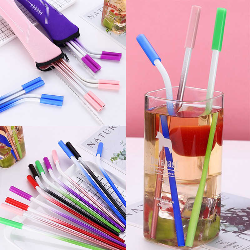 Reusable Metal Drinking Straws 304 Stainless Steel Sturdy Bent Straight Drinks Straw Set