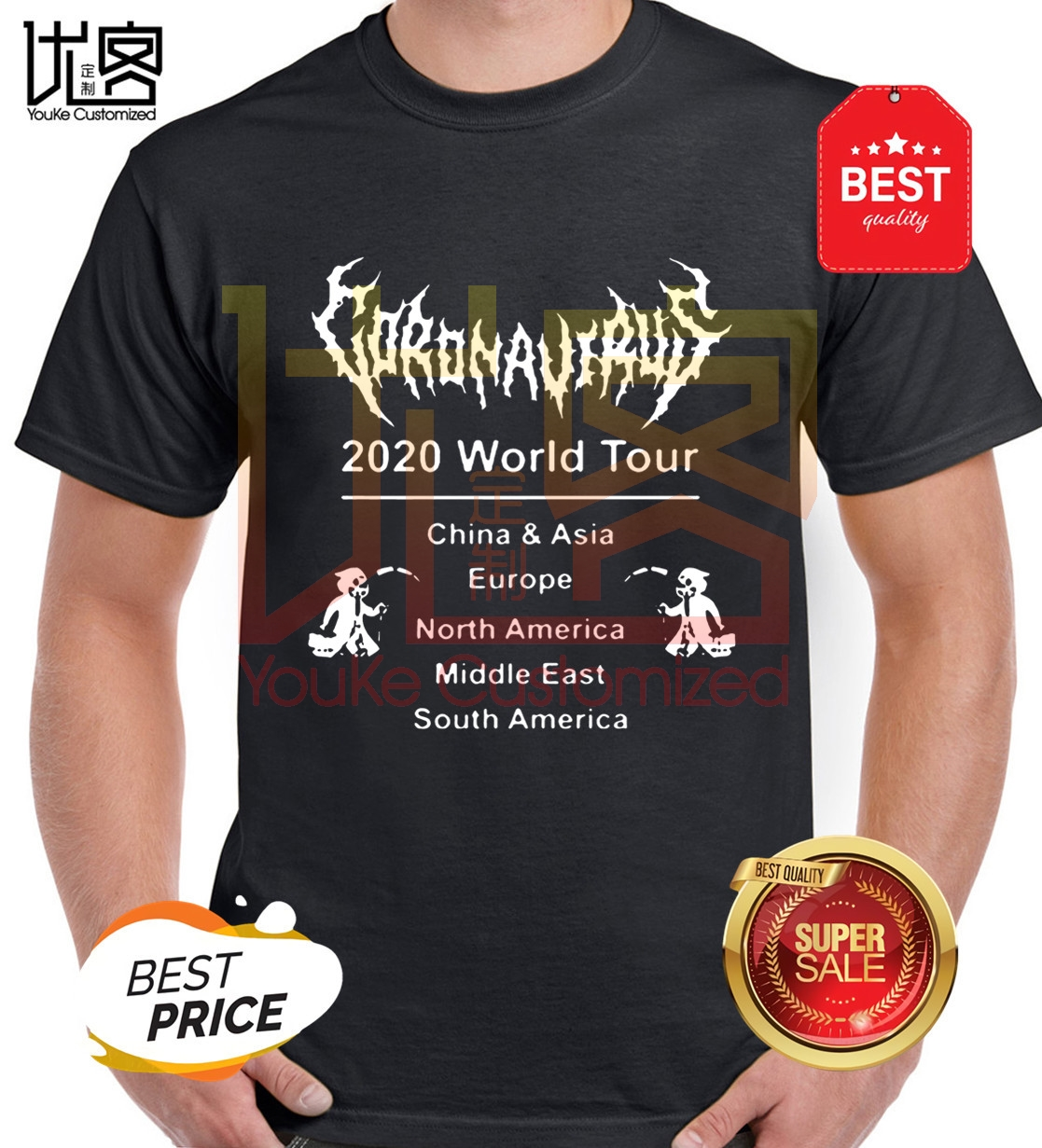 Hot-2020-coronavirus-shirt-world-tour-2020-t-shirt Men's Women's 100% Cotton Short Sleeves Tops Tee Printed Crewneck T-shirt