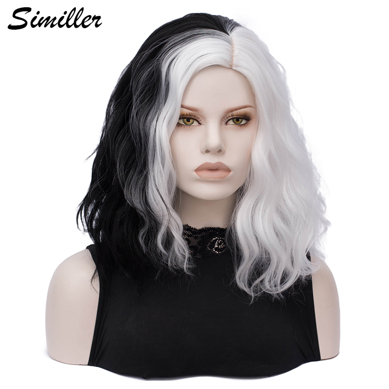 Similler Black White Patchwork Colors Short Cosplay Wigs For Women Curly Synthetic Hair Central Part With Free Wig Cap