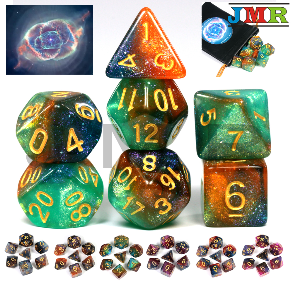 Universo romântico galaxy dice 7 peças/set + saco de couro do plutônio 7 pces dnd rpg jogos pré-venda dados estrelados presente natal