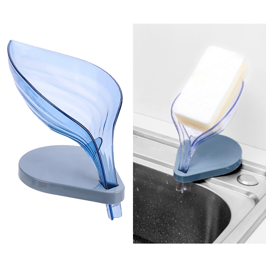 Leaf Soap Box Soap Holder Clear Kitchen Supplies Gadgets  Suction Cup Natural Leaf Shape Soap Case 6 Colors
