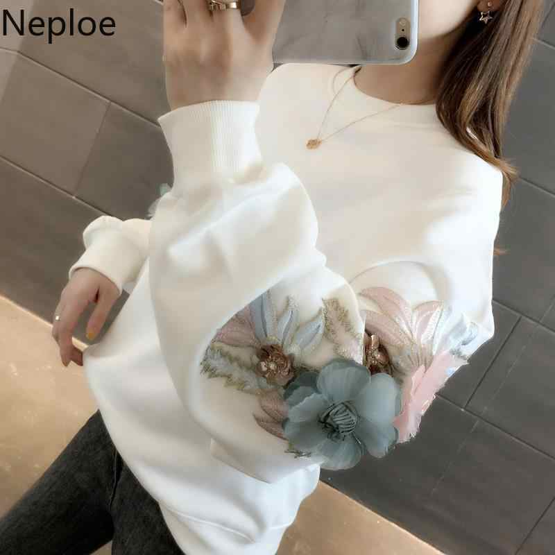 Neploe Thicked Flower Embroidery Hoodies O Neck Long Sleeve Ins Warm Sweatshirt Autumn Spring 2020 New Solid Ladies Top 48207