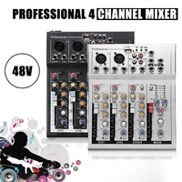 LEORY 4 Channel Audio Sound Console Professional Live Mixing Studio Black/Silver Mixer Console Network Sound Card for Family KTV