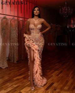 Image 2 - Luxury Crystal Beaded Side Slit Mermaid Prom Dresses Sexy Illusion Aso Ebi Champagne Ruffles Sweetheart Long Formal Dress Gowns