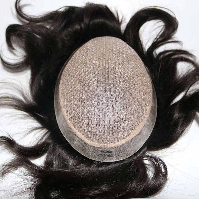 Full Silk Base With Pu Around Perimeter Toupee Human Hair Silk Top Hair Pieces Replacment Men Toupee Straight Hair <font><b>Wig</b></font> image