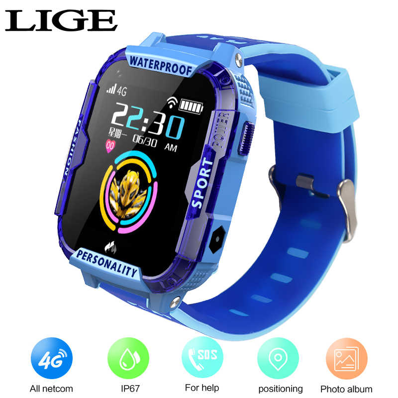 LIGE New Children's Smartwatch Remote Camera WI-FI Kids Students Wristwatch SOS4G Video Call Monitor GPS Tracker Location Watch