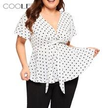 Crop Top Women's Plus Size V Neck Short Sleeve Shirt Top Polka Dot Knot Front Blouse Blusas Mujer De Moda блузки летние женские