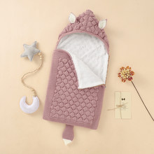 Baby Sleeping Bags Knitted Solid Newborn Swaddle Wrap Zipper Villus Warm Winter Toddler Infant Sleep Sack Fashion Cute Fox Ears