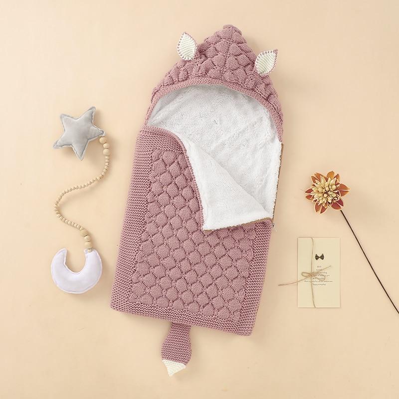 Sacos de dormir do bebê malha sólida recém-nascido swaddle envoltório zíper villus quente inverno da criança infantil dormir saco moda bonito raposa orelhas