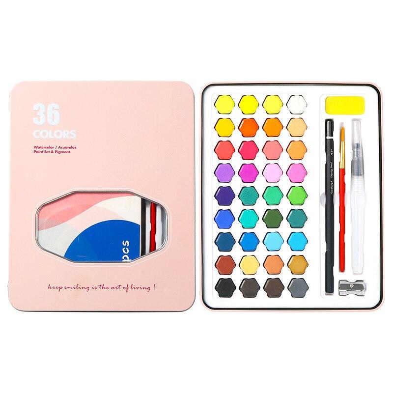 Portable Watercolor Solid Pigment Set 36-color Watercolor Painting Student Hand-painted Painting Set Iron Box Art Supplies