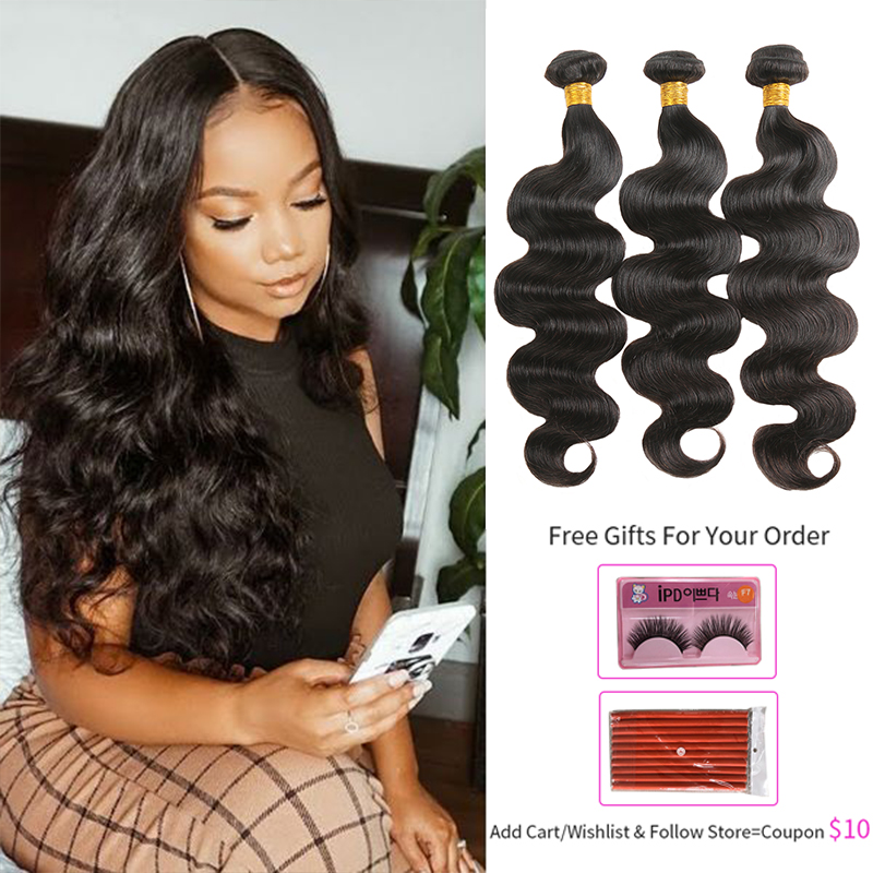 Body Wave Hair Bundles SOKU 28inch 30inch Human Hair Extension Natural Color Brazilian Hair Weave bundles 3/4 PCS Non-Remy Hair