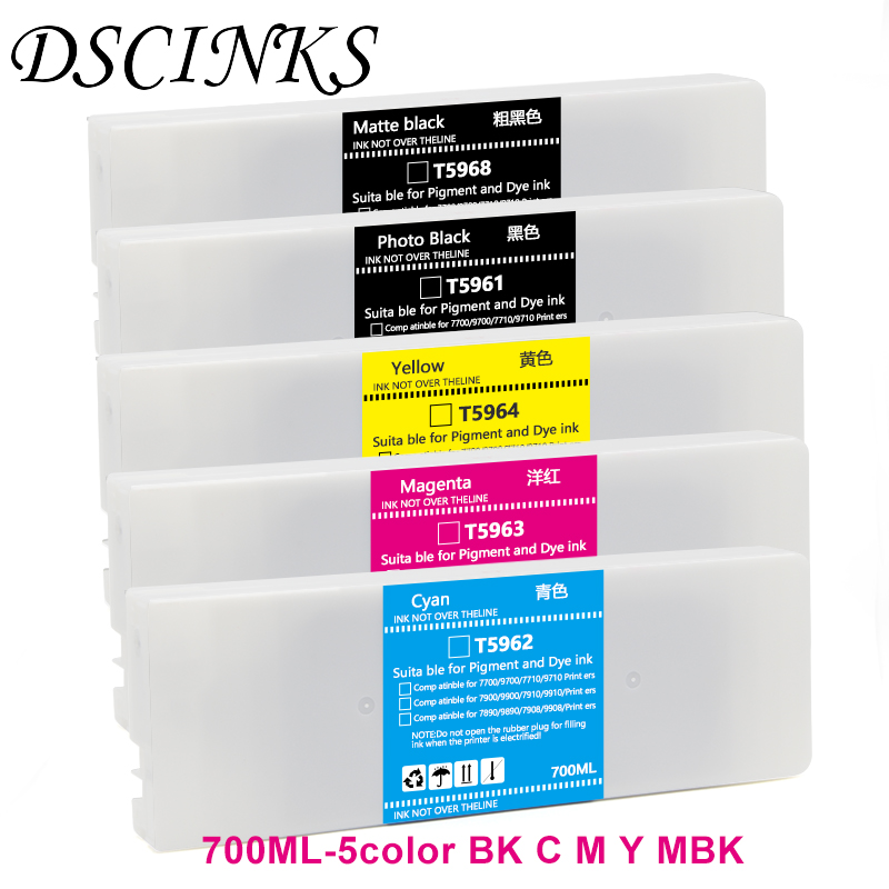 5color 100% work for T5961-T5964 T5968 Refill <font><b>ink</b></font> <font><b>cartridge</b></font> with permanent chip for <font><b>Epson</b></font> Stylus pro 7710 9710 <font><b>7700</b></font> 9700 printer image