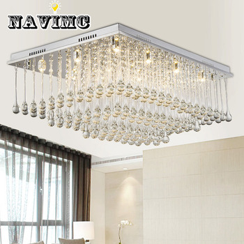 مستطيلة LED الموضة الحديثة الحد الأدنى الكريستال مصباح السقف مصباح مطعم غرفة المعيشة إضاءة غرفة النوم