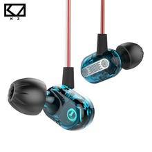 KZ ZSE micro em fone de ouvido dinâmico, duplo motorista monitores de áudio isolando de ruído HiFi música esportes