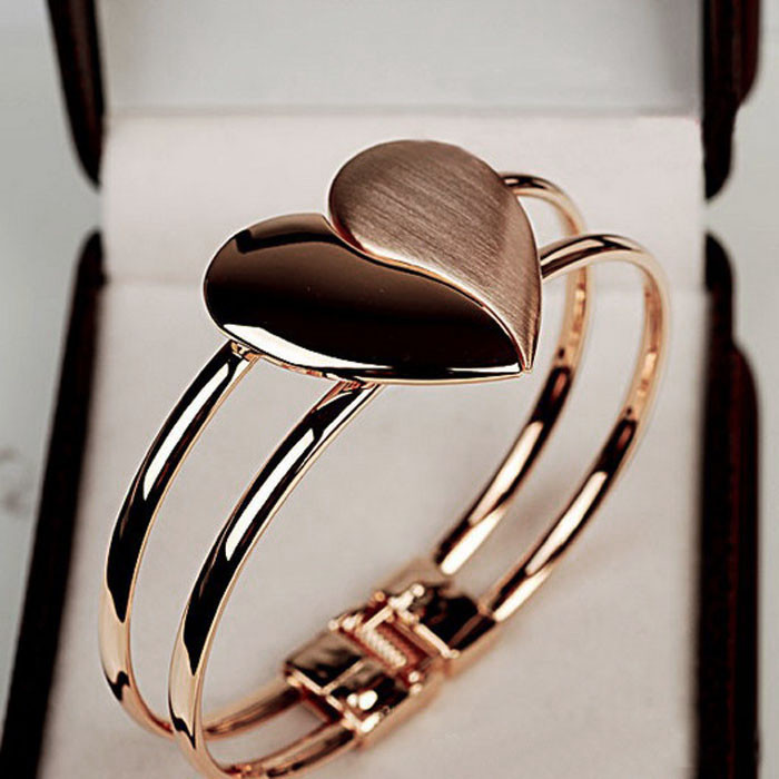 Heart Bangle Bracelet New New Lady Elegant Heart Bangle Wristband Bracelet Cuff Bling Gift Magnetic Bracelet M840#