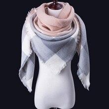Модный зимний шарф женские повседневные шарфы дамское клетчатое кашемировое одеяло треугольный шарф Прямая Горячая