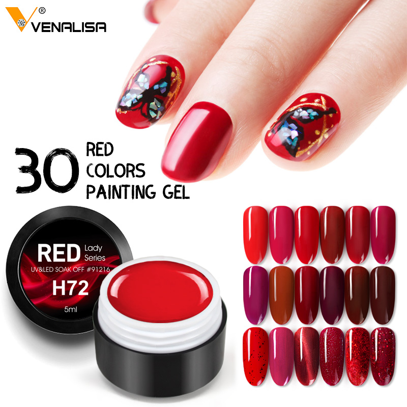 2020 New Nail Art VENALISA Semi Permanent Enamels Red Color Glitter UV Gel Matt Nail Polish Sequins Nail Gel Varnish Lacquer Gel