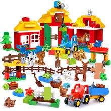 Duże cząstki Happy Farm zestawy klocków budowlanych Zoo zwierzęta samochód miasto DIY Brinquedos Duplo przyjaciele cegły edukacyjne zabawki dla dzieci