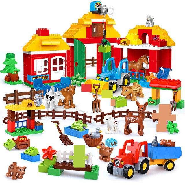 Large Particles Happy Farm Building Blocks Sets Zoo Animals Car City DIY Brinquedos Duplo Friends Bricks Educational Kids Toys