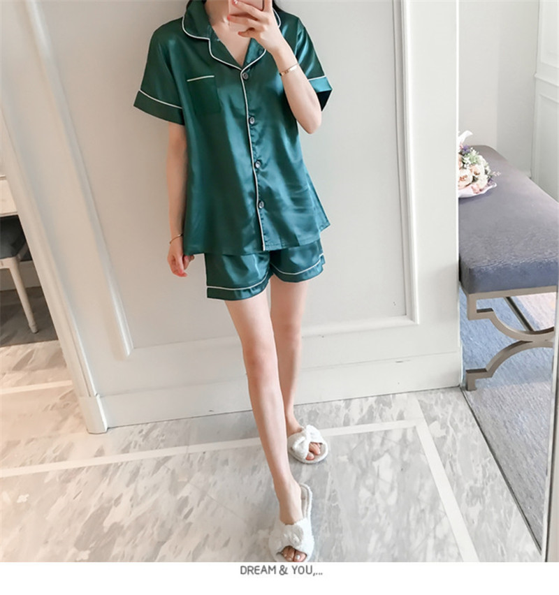 Hf3b12908c88e46bca02b940825fc1615n - JULY'S SONG New Spring Summer Women Faux Silk Pajamas Set Simple Pure Color Leisure Nightwear Short Sleeves Sleepwear