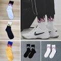 Новинка, хлопковые мужские и женские носки в стиле хип-хоп с принтом пламени, желтого и розового цвета, модная уличная одежда в стиле Харадзю...