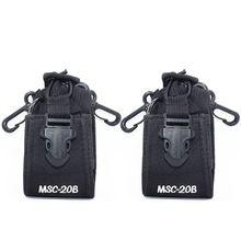 2pcs Abbree MSC 20B Nylon Multi functional Case Holster Pouch for Baofeng TYT Wouxun Kenwood Motorola Icom Walkie Talkie Radio