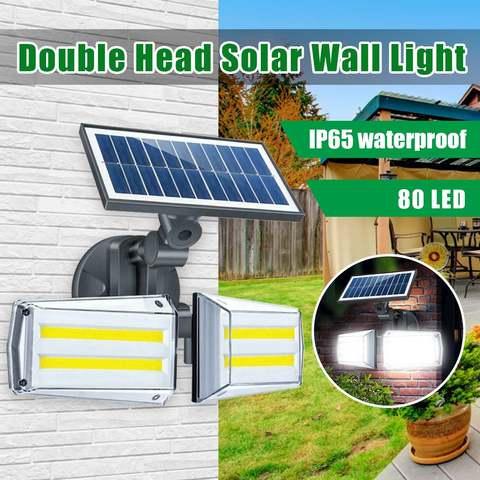 100 w 80led dupla cabeca sensor de radar luz solar cob lampada de parede holofotes