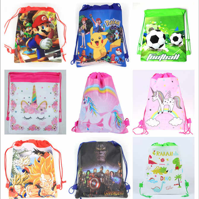 1Pcs Cartoon Fabric Drawstring Bag Backpack Animation Design Printing Child Party Gift Bag Travel Receive Bag for Shoes ,Clothes