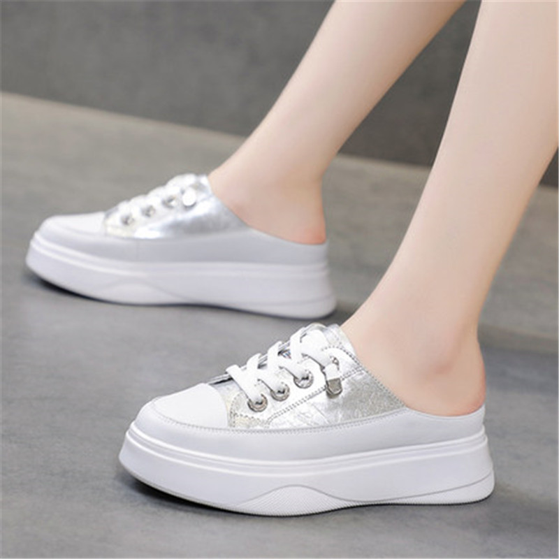 Slippers for Women Summer New Korean Version of No Heel Thick Bottom Pedal Platform Flats Women's White Shoes Sneakers Eu 35-40