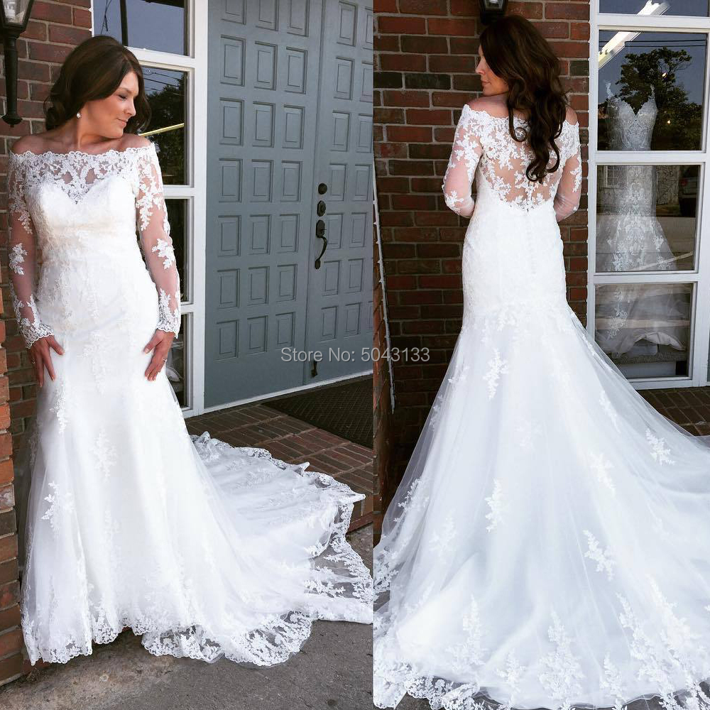 Sexy Off The Shoulder Mermaid Wedding Dresses With Long Sleeves Lace Applique Plus Size Bridal Gown 2020 Vestido De Noiva Formal