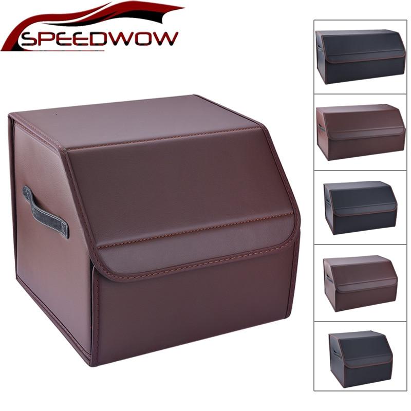SPEEDWOW Car Storage Bag PU Leather Trunk Storage Organizer Box Multipurpose Collapsible Auto Tool Box Car Trunk Stowing Tidying