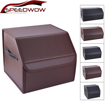 SPEEDWOW Car Storage Bag PU Leather Trunk Storage Organizer Box Multipurpose Collapsible Auto Tool Box Car Trunk Stowing Tidying hot multifunction car storage box trunk bag vehicle tool box tools organizer bag for emergency box