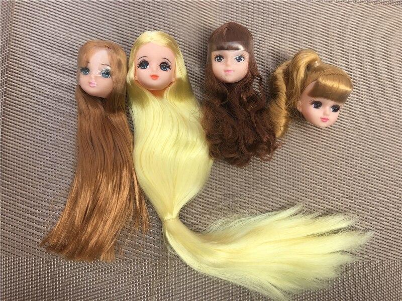 Кукла кукла из длинных волос, Короткие Длинные изогнутые волосы, мягкие розовые, желтые, зеленые волосы, кукольные головки, аксессуары для р...