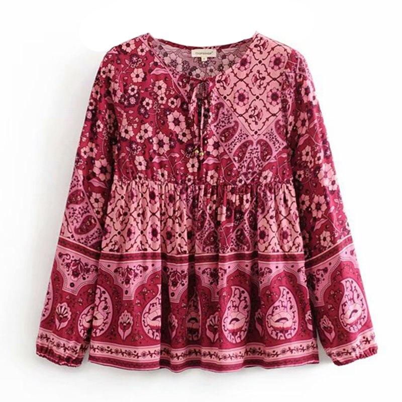 Boho Shirt 2020  Women Plus Size Autumn Chic Shirt Floral  Long Sleeve Shirts Top Women Casual O-neck Boho Tops Female Clothing
