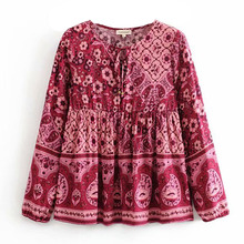 цены Boho Shirt 2020  Women Plus Size Autumn Chic Shirt Floral  Long Sleeve Shirts Top Women Casual O-neck Boho Tops Female Clothing