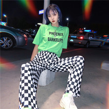 2020 Korea bf street hip hop new plaid pants fun female personality large size Vintage checkerboard print couple full pants
