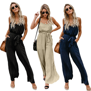 Women Sling Jumpsuits Wide Leg Summer Sleeveless Rompers Long Pants Onesies Office Ladies Elegant Overalls Jumpsuit Trousers european and american fashion elegant chiffon jumpsuits piece pants 2018 summer rompers office lady womens jumpsuit