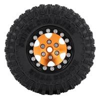 """INJORA 4PCS CNC 1.0"""" Beadlock Wheel Rims Tires Set for 1/24 RC Crawler Car Axial SCX24 AXI90081 AXI00001 AXI00002 Deadbolt 5"""