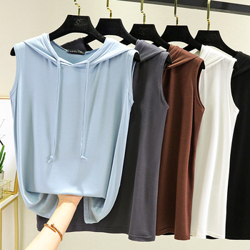 New Summer Modal Sweatshirts Sweater Hooded T Shirt Sleeveless Ladies Hoodie Top Tees Women Thin Soft Loose Pullovers Plus Size 1