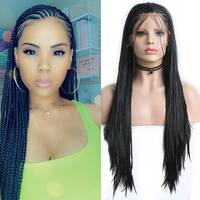 Charisma Black Wig Heat Resistant Fiber Hair Braided Wigs Synthetic Lace Front Wig with Baby Hair Box Braids Wigs for Women