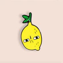 Broche en jean, en émail et citron triste, pour chemise, sac, bijoux de fruits, cadeau pour amis, enfants
