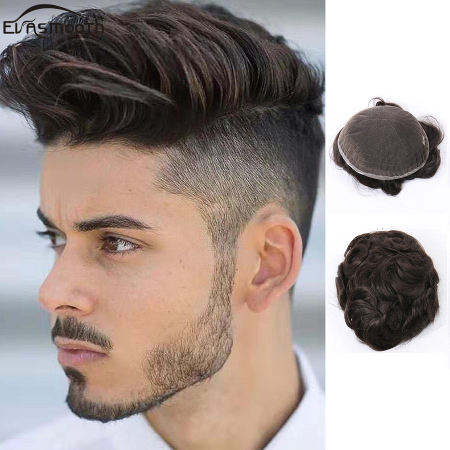 Thin Swiss Lace Men Wig Natural Human Hair Toupee Full Lace Wig Men Toupee Human Hair Units Pieces Hair Replacement System