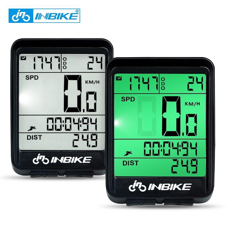 INBIKE 방수 자전거 컴퓨터 무선 및 유선 MTB 자전거 사이클링 주행 거리계 스톱워치 속도계 시계 LED 디지털 속도