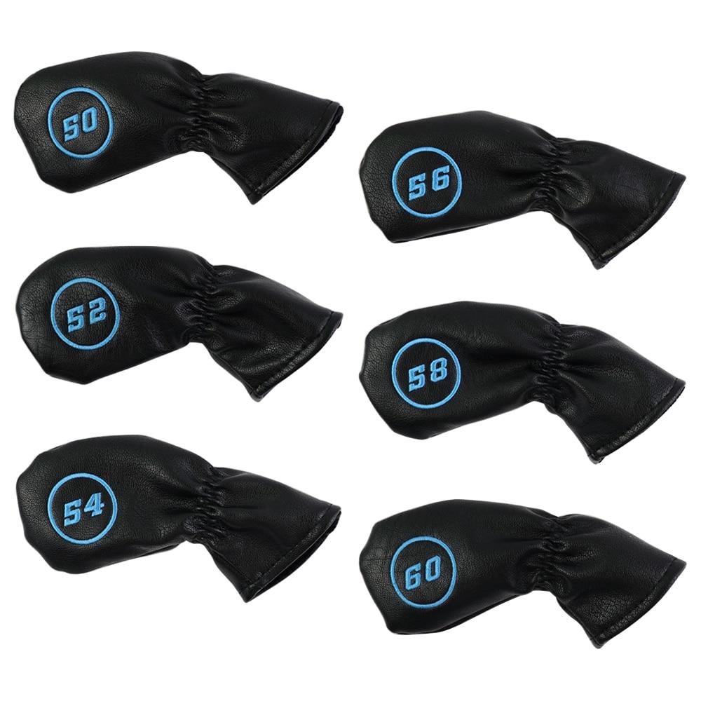 6 Pcs Golf Wedge Cover Waterproof Leather PU 50 52 54 56 58 60 Degree Golf Sand Wedge Headcover