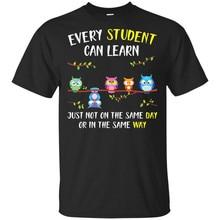 La vuelta al colegio de los hombres cada estudiante puede aprender la camiseta del búho tamaño M-3Xl camiseta gráfica Vintage